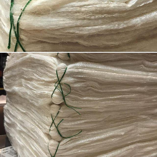 【 真綿 】です。今年もこの季節がやってきました。真綿帽子作りまっす#日蓮宗#小松原法難#綿帽子#御綿#これから染めます#国産真綿#ニーハオではないよ#震災復興支援#東北産です#御綿のわたとは#綿花(めん)じゃない#綿とは、シルクだ#御祖師様に偽物などありえないのだ